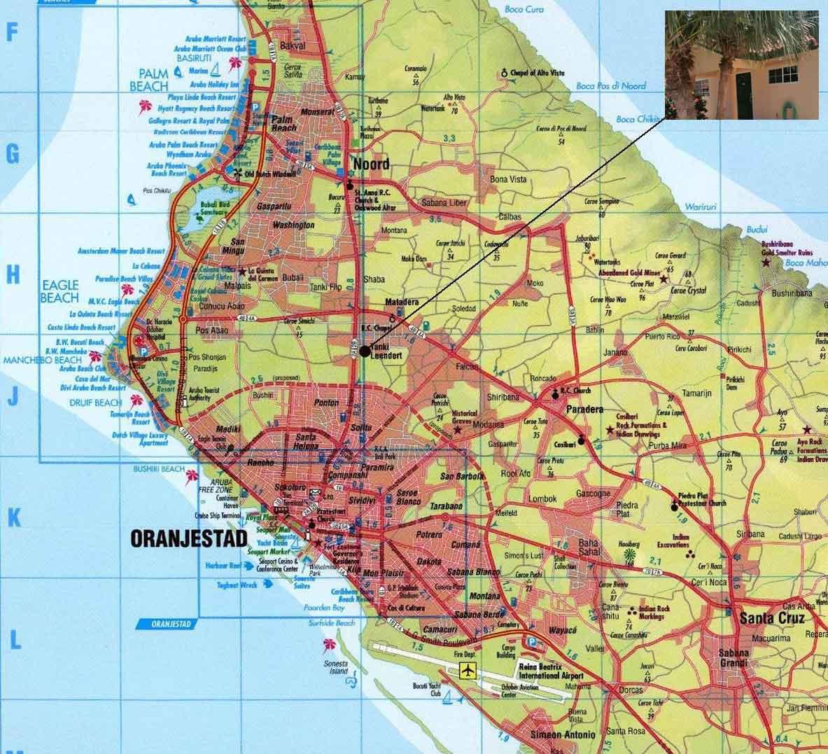 Vakantiewoning Aruba kaart2 - OMGEVING